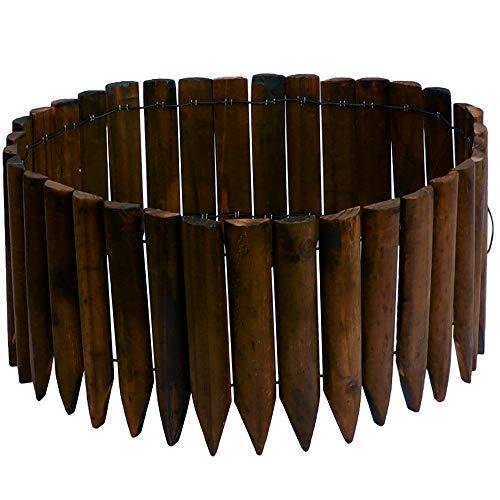 JonesHouseDeco - Bordo in legno per recinzione da giardino, giardino, paesaggio, flessibile, finitura in legno bruciato, lunghezza 120 cm x altezza 20 cm, colore: marrone scuro
