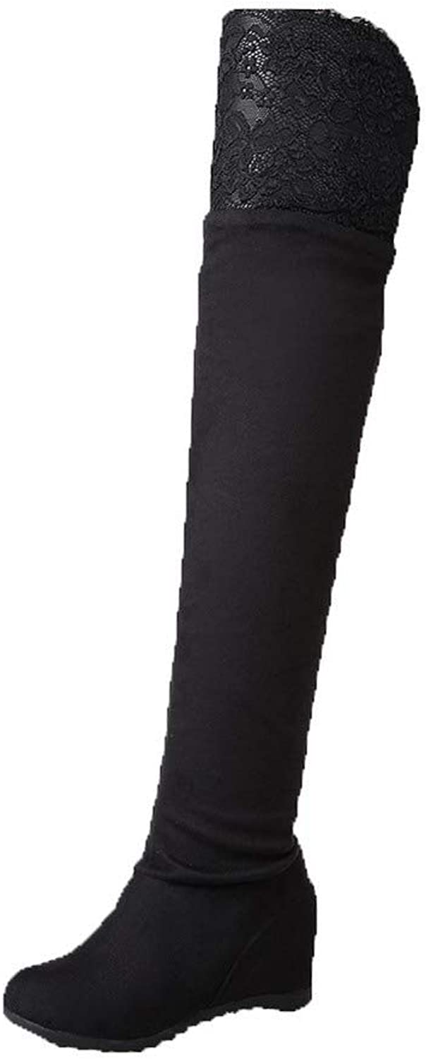 WeiPoot Women's Kitten-Heels Imitated Suede Above-The-Knee Solid Pull-On Boots, EGHXH122866