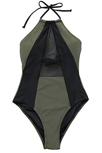 Cupshe Fashion Take My Heart Mesh One-Piece Swimsuit Beach Swimwear Bathing Suit (S),Multicolor