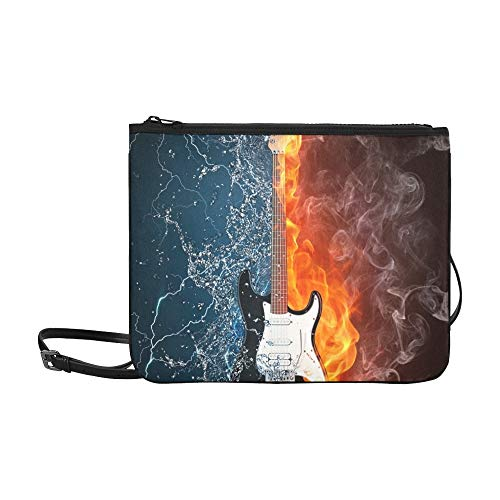 JEOLVP E-Gitarren-Feuer-Wasser-Illustration elektrisch Abbildung-Muster-Gewohnheit hochwertige Nylon-dünne Handtasche Umhängetasche Umhängetasche
