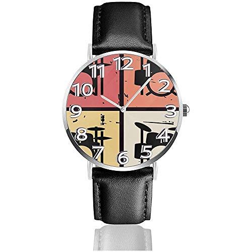 Retro Vintage Drum Kits Lederuhr 3D Bedruckte Armbanduhr Kratzfest Quarzuhr leicht zu tragen Uhren