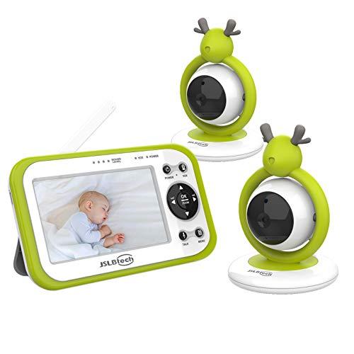 JSLBtech Vigilabebés Inalambrico con Cámara, Monitor de Bebé Visión Nocturna Pantalla LCD de 4.3', visión nocturna, Monitoreo de Temperatura, VOX, Comunicación Bidireccional (dos cámaras)
