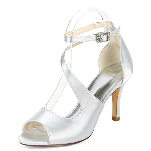 LGYKUMEG Damen Pump Toe Open Toe Knöchel Schnalle Sandalen Prom Schuhe Satin Party Braut Hochzeitsschuhe,10,EU42