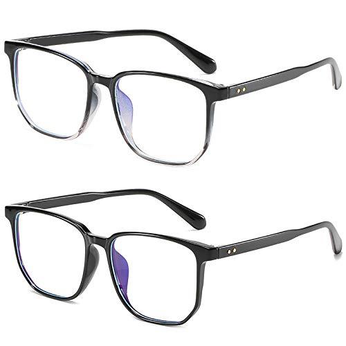 Bias&Belief Pack de 2 Gafas con Bloqueo de luz Azul Gafas para Juegos de computadora TR Montura Cuadrada Montura de anteojos Gafas para Juegos Anti-Fatiga Ocular para Mujeres y Hombres,D