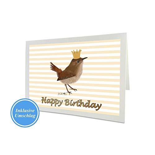 Geburtstagskarte Glückwunschkarte Happy Birthday Zaunkönig mit goldener Krone Vogel Zeichnung