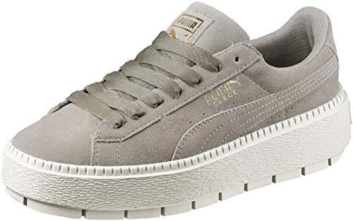 PUMA Women's Suede Platform Trace Sneakers, Rock Ridge/Marshmallow, 10.5 B(M) US