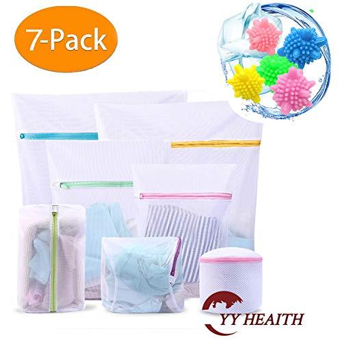 YY HEAITH Mesh Laundry Bags-Set of 7 Reusable Tangle-Free Eco Friendly Laundry Ball Durable Washing Machine Bag,Travel Storage Organize Bag,for Blouse Bikini Hosiery Underwear Bra Lingerie and Baby Cl