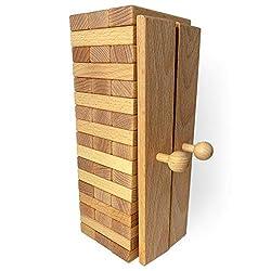 rewoodo Stapelturm mit Aufbauhilfe inkl. Baumwollbeutel Buche mit Walnussöl veredelt Premium Holzspielzeug aus Deutschland
