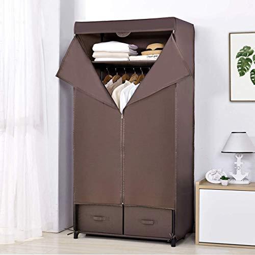AOLI Efecto de la lona Armario - almacenaje de la ropa del armario/Armario rectángulos que mueven, Amazon Prime Armario Mujeres,marrón