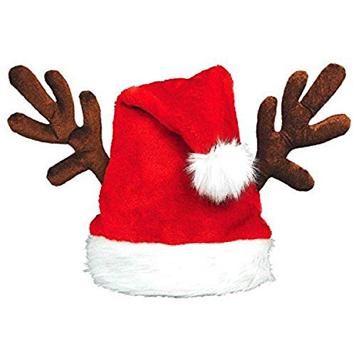 Amscan 395015 Santa's Plush Hat with Antlers