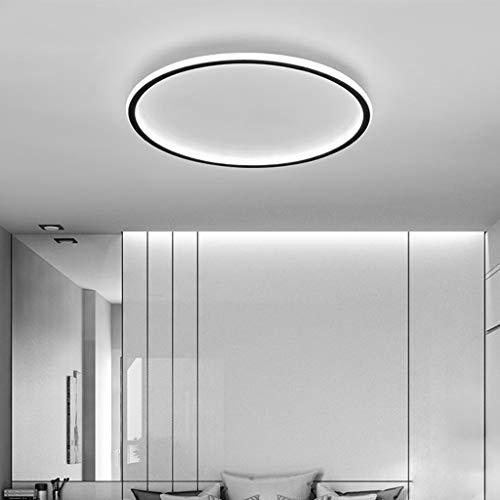 Plafonnier LED Ronde Moderne Minimaliste Mode Lampe Plafond Noir Cadre Acrylique Lampe De Plafond Pour Vivre Lampe Chambre Salle D'étude Lampisterie Éclairage Plafond Bureau Villa,100cm/6500K/124W