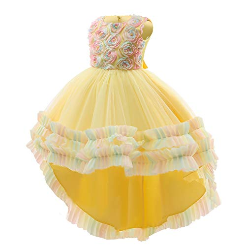 Flower Baby Girl Wedding Pageant Dress Toddler Birthday Party Floral Printing Easter Formal Dresses (Yellow,100)