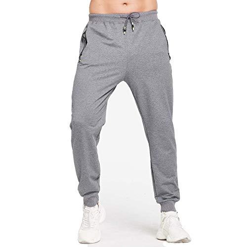JustSun Jogginghose Herren Sporthose Trainingshose Herren Baumwolle Fitness Hosen Jogger mit Reissverschluss Taschen Grau 3XL