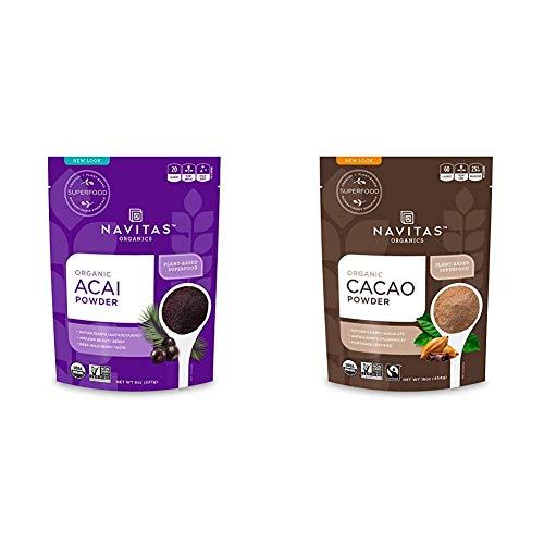 Navitas Organics Acai Powder, 8 oz. Bag — Organic, Non-GMO, Freeze-Dried, Gluten-Free & Cacao Powder, 16oz. Bag - Organic, Non-GMO, Fair Trade, Gluten-Free