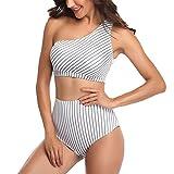 Mujer Traje de Baño de Moda 2 Piezas, Sexy del bikini de un hombro sexy de las mujeres, presione la tapa acolchada y de la cintura alta en la parte inferior de la cintura en el traje de baño de 2 piez