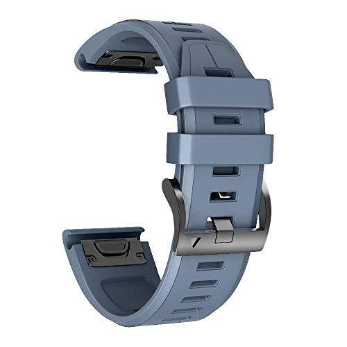 Armband für Garmin Fenix 5X /Fenix 5X Plus/Fenix 6X /Fenix 6X Pro/Fenix 3 /Fenix 3 HR, 26mm Breite Silikon Quick-Fit Uhrenarmband für Garmin, Mehrfache Farben (Schiefer)
