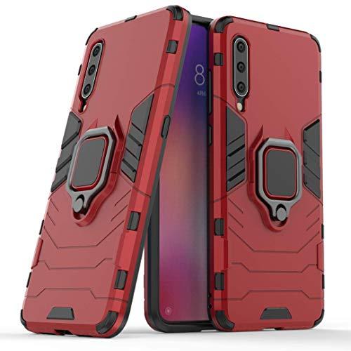 DOHUI Funda Huawei Y6 2020, 2 en 1 Armadura híbrida Funda [Absorción de Choque] [360 Grado Girar Dedo Anillo Hebilla] Carcasa para Huawei Y6 2020 (Rojo)