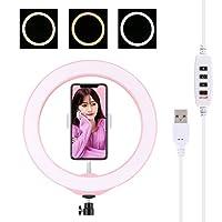 KMLPJP 10.2インチ26cm USB 3モード調光可能LEDリングVlogging Selfie写真ビデオコールドシューズ三脚ボールヘッド&電話クランプ付き (Color : ピンク)