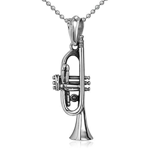 Aimrio Collar de Hombre con Acero Inoxidable Trompeta Vintage Plata Colgante Hombre Gotico