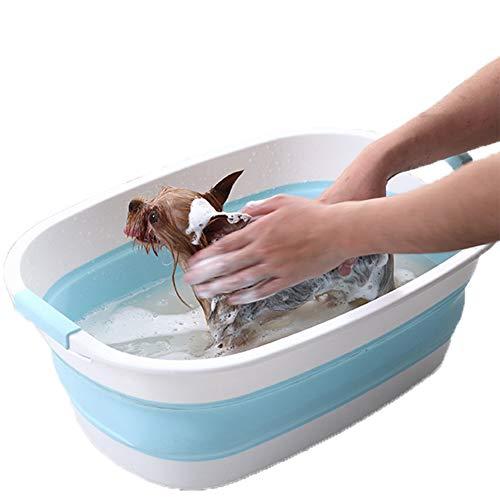 NXL Piscina del Animal Doméstico Piscina para Perros Bathtub Bañera para Perro Antideslizante para Perros Pequeños Y Medianos Lavabo,Azul