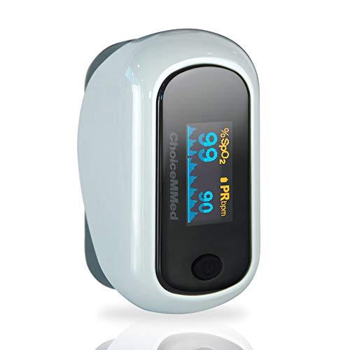 Pulsioxímetro de dedo, Oxímetro de pulso, Medición de Frecuencia cardíaca y SpO2, Pantalla OLED, 7 modos de visualización, Bajo consumo, Fácil de usar y transportar, Gris