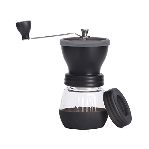 Koalad Manual Coffee Grinder with Conical Ceramic Burr - Because Hand Ground Coffee Beans Taste Best, Infinitely Adjustable Grind, Glass Jar, Stainless Steel Built To Last, Quiet and Portable