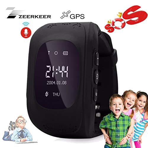 Smart Watch for Kids-ZEERKEER GPS Tracker Smart Watch Pedometer with SOS Call Anti-Lost Alarm Remote Monitor GPS/LBS Locator Smart Bracelet Best Gift for Girls Children boy