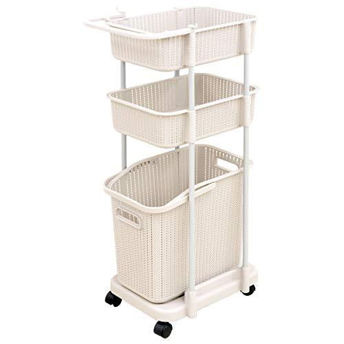 WEIMALL ランドリーバスケット 3段 スリム キャスター付き 洗濯かご ランドリーラック 組立式 浴室 洗濯 収納 (ホワイト)
