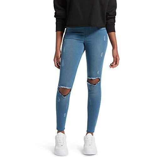 Kendall + Kylie Women's Ripped Denim Leggings, FADED WASH, Medium