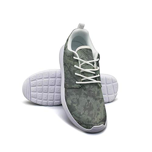 LOKIJM Green Camouflage Camo Army White Tennis Shoes for Women Slip on Comfortable and Lightweight Best Running Shoes
