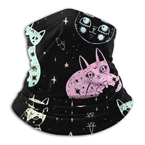 Yuanmeiju Witch\'s Cat Pattern Winter Cuello Calentador Polainas Diadema Tubo Cubierta facial Bufanda para el cuello