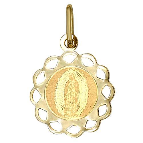 DINASTI Medalla Redonda Diseño de Flor Estilo Italiano de Virgen de Guadalupe en Oro de 14 Kts
