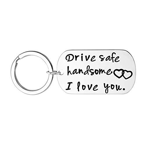 HIUYOO Llaveros Personalizados Acero Llaveros para El Cuello Dog Tag Grabado Drive Safe Handsome I Love You Llaveros Plata