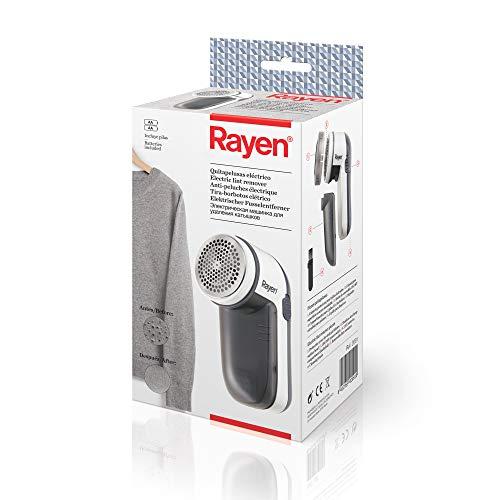 Rayen Quitapelusas eléctrico | Incluye Pilas | con Cubierta Protectora | para Todo Tipo de Prendas, ABS, y Acero INOX, Blanco/Gris, 13 x 6,8 x 5,80 cm