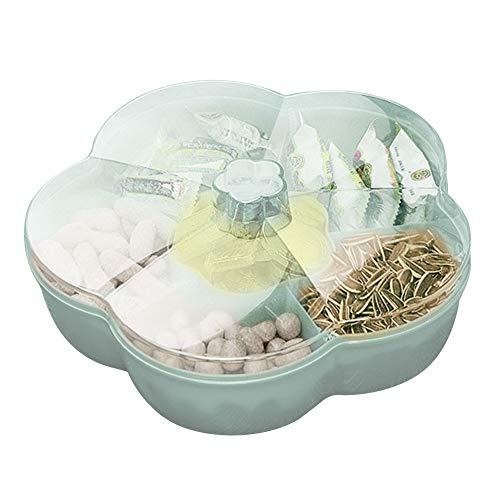 LICHENGTAI Bandeja de aperitivos con tapa,Caja de almacenamiento de refrigerios,bandeja de bocadillos en forma de flor,Contenedor para servir dulces y nueces,verduras y bocadillos