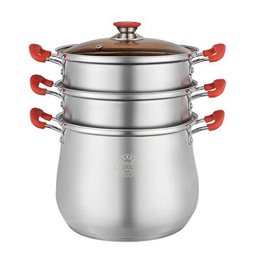 CDPC Olla de Sopa/vaporera, Olla de Sopa de 2 Capas de Acero Inoxidable 304 con Tapa y Rejilla de Vapor (22/24/26/28 cm) para Cocina de Gas/inducción (tamaño: 28 cm)
