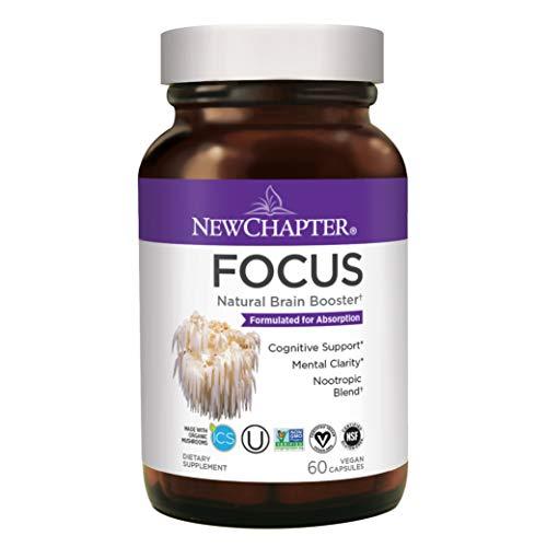 Focus Supplement, New Chapter Focus Supplement with Lion's Mane Mushroom for Brain Focus & Function + Gluten-Free, 60ct (1 Month Supply)