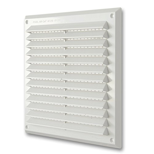 La Ventilazione AR2323B Griglia Quadrata in Plastica Bianca, da Sovrapporre con Rete antinsetti. Dimensioni 227x227 mm