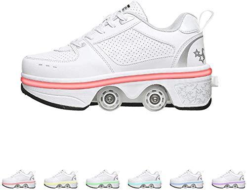 GKZJ 2-in-1-Mehrzweckschuhe,Unisexe Skates Deformation Schuhe,Inline-Skate Mit LED-Beleuchtung, Verstellbare Quad-Rollschuh-Stiefel,White-42