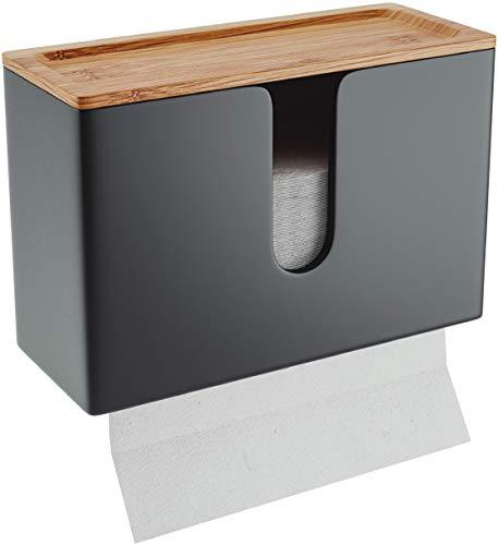 Nature Supplies Papierhandtuchspender aus Holz - Papierhandtuchhalter Mit Wandhalterung oder bei Tisch, für Papierhandtücher mit C-, Z- oder Interfold-Falzung