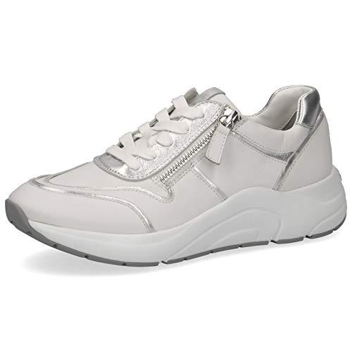 CAPRICE Damen Schnürhalbschuhe 23704-24, Frauen sportlicher Schnürer, lose Einlage, Ugly-Sneaker dad-Shoe Chunky-Sneaker,White/Silver,39 EU / 6 UK