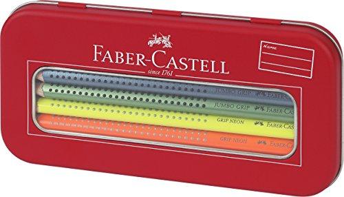 Faber-Castell 110940 - Jumbo Grip Malset, 10er Etui, neon metallic