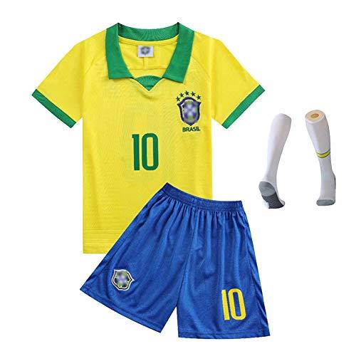 CBVB Fußballuniform für Kinder, Neymar JR Mbappé Hazard Pogba, Argentinien Brasilien Portugal Frankreich Neue Saison (Heim & Auswärts) Fußballtrikot,Sport-Kit-Neymar-28