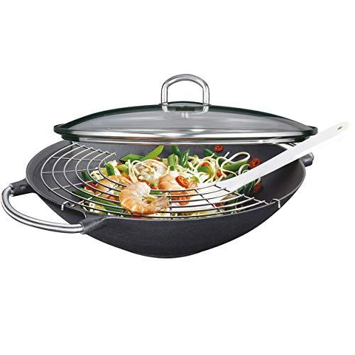 Küchenprofi 04 1000 10 36 Set wok con coperchio in vetro e accessori, 36 cm