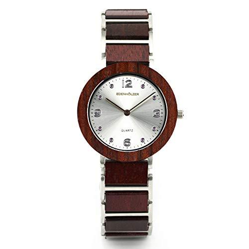 Edenholz - Reloj de pulsera de madera para mujer (cuarzo, correa de madera), diseño de flores