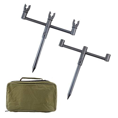 Carp Fishing Rod Pod Set Buzz Bars Bank Sticks With 3 Rod Rest Head In Portable Tackle Bag 22 35CM