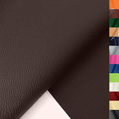TOLKO 1m Lederimitat mit Rindsleder Optik   weiche PREMIUM Meterware   für Stuhl Bank Sessel Sofa Sitzbezug 140cm breit   Kunstleder Bezugstoff Polsterstoff Polsterbezug Möbelbezug Möbelstoff (Braun)
