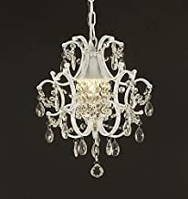 Jac D'Lights J10-592/1 Wrought Iron Crystal Chandelier, 14x11x1-Inch, White