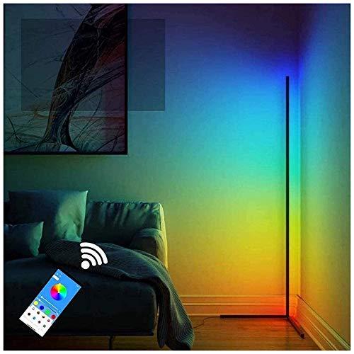 'N/A' Lámpara De Pie De Esquina LED Nórdica RGB Que Cambia De Color, Minimalista Moderna, Regulable con Cambio Control De Aplicación, para El Hogar, Sala De Estar, Dormit(Color:Negro)