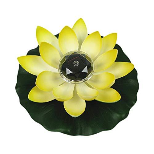 Beaupretty Ledソーラー蓮の花フローティング装飾スイレン蓮の花のライトガーデンパティオためヤードパーティー好意池装飾黄色